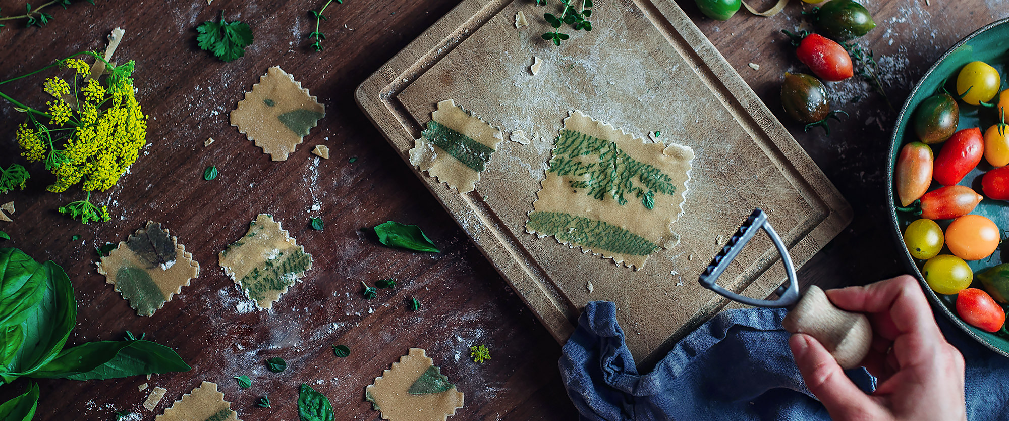 Homemade pasta with herbs