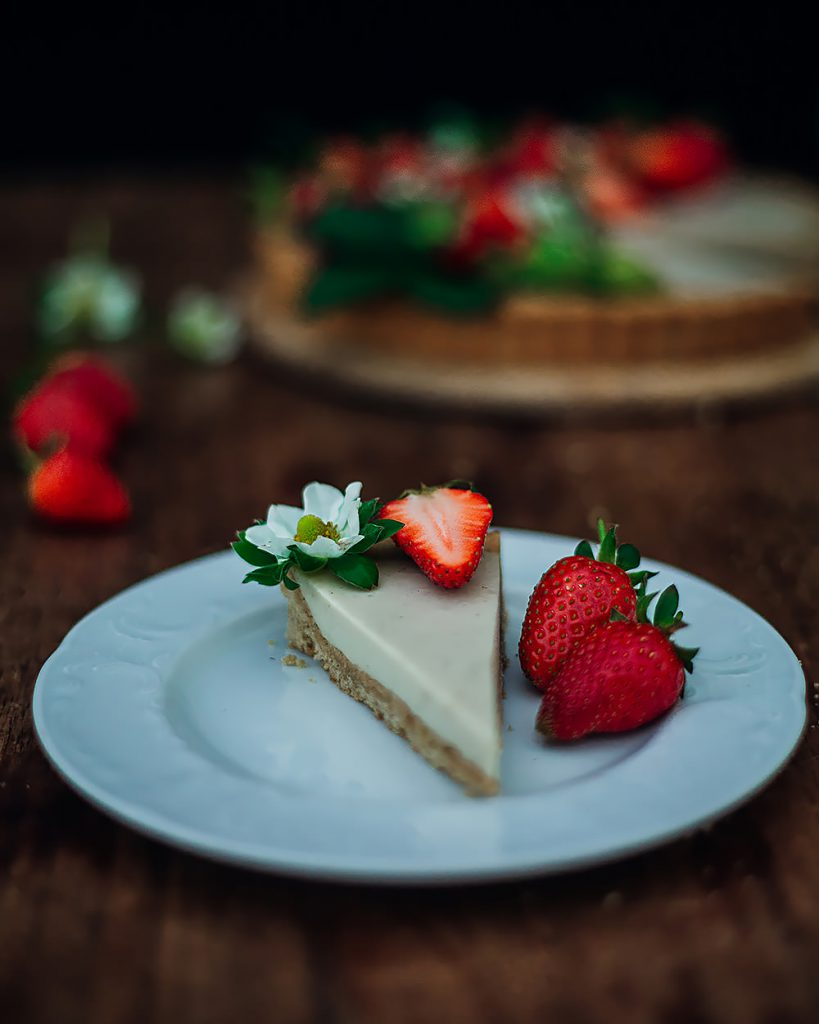 a piece of strawberry mascarpone tart