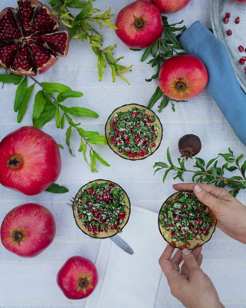 pomegranate tabbouleh in bowls