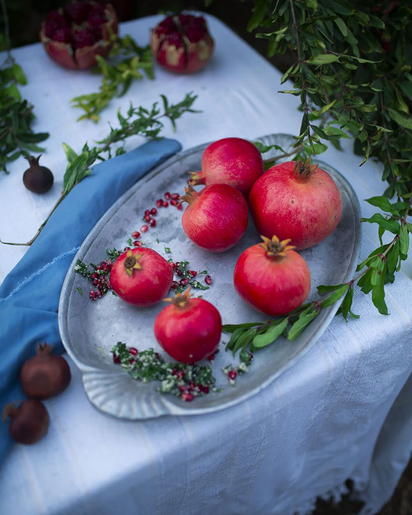 pomegranates and tabbouleh
